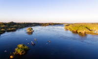 Aerial of the channels on the Chobe River, that boarders Namibia and Botswana